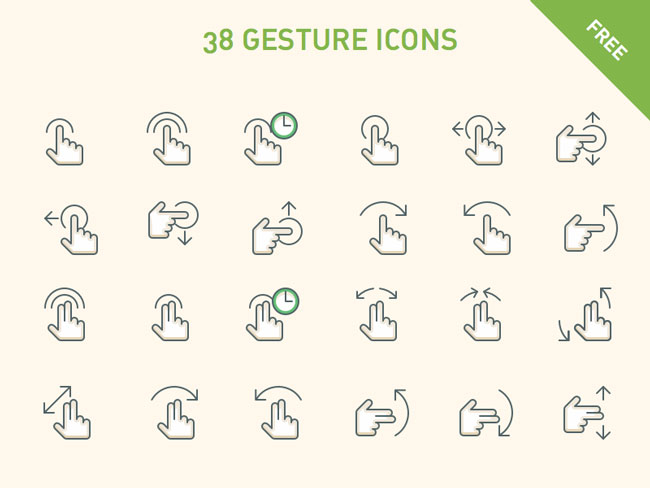 10 Free Gesture Icon Sets For App Designers
