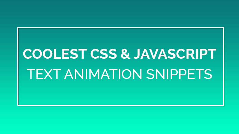 8 Coolest CSS & JavaScript Text Animation Snippets